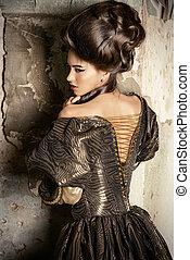 baroque lady - Art Fashion. Beautiful young woman in elegant...