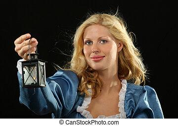 Baroque lady in blue dress