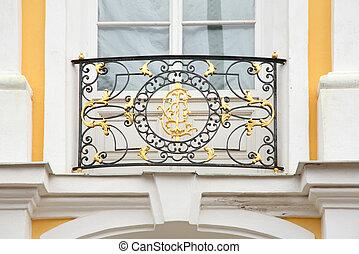 Baroque lattice on facade of house