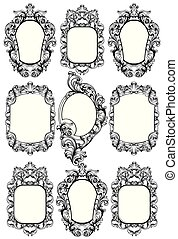 Baroque mirror frame. Vector Imperial decor design elements. Rich encarved ornaments line arts