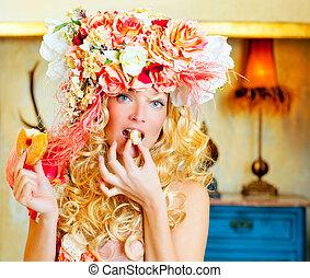 baroque, mode, blond, femme mange, dona