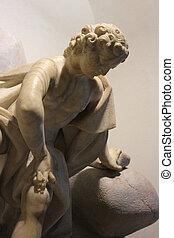 baroque Narcissus sculpture - marble statue of Narcissus, ...