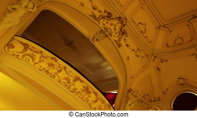 Baroque Opera House Interior - Pan shot over old baroque...