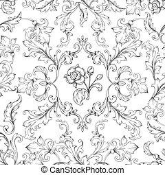 Baroque ornament pattern. Decorative floral border elements ...