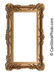 Baroque Ornamental Isolated Vertical Frame on White