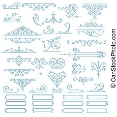 Baroque Ornaments Design Set. Vector