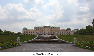 Baroque palace of Belvedere complex with fountain - Scenic...