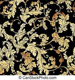baroque, pattern., floral