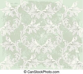 Baroque pattern on an old fabric background Vector. Vintage ornament decor textures in pastel green colors