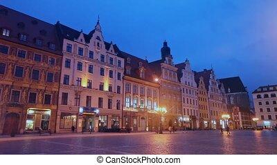 baroque, pittoresque, marché, vue, wroclaw, architecture, ...
