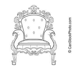 Baroque rich armchair furniture. Handmade ornamented decor. Vector illustration