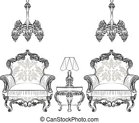 Baroque Rococo armchair set