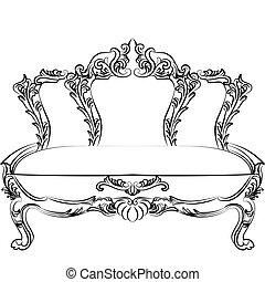 baroque, royal, meubles, classique, sofa