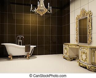 baroque, salle bains, meubles