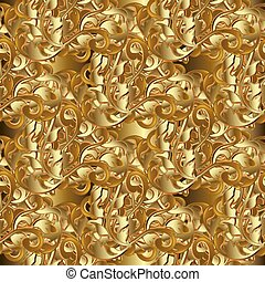 Baroque seamless pattern. Intricate floral ornaments.
