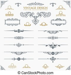Baroque Set of vintage decor elements calligraphic ornaments