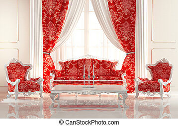 Baroque Sofa and Armchairs in old royal interior design....