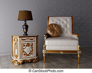 baroque - classical interior, armchair and lamp in the room