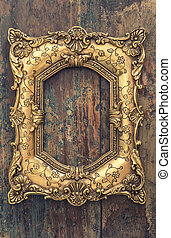 Baroque style antique golden frame