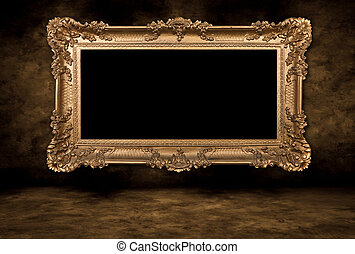 Baroque Style Blank Picture Frame on Grungy Distressed Wall