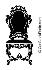 Baroque style chair with rich ornaments in black. Vector...