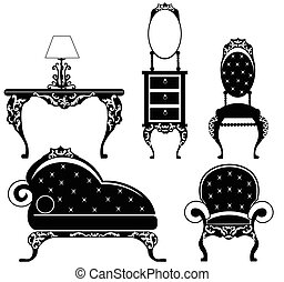 Baroque style furniture set with rich ornaments in black....