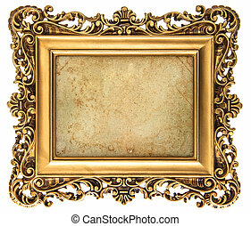 baroque style golden picture frame with canvas