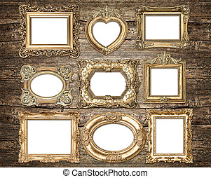 Baroque style golden picture frames. Antique objects