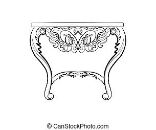 Baroque style night table with luxurious ornaments