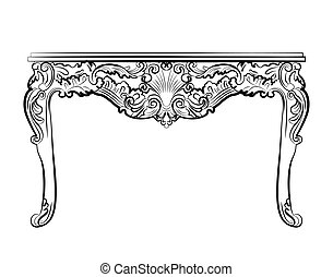 Baroque style table with ornaments - Baroque style table...