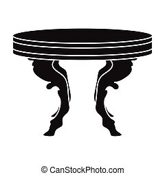 Baroque table icon in black style isolated on white background. Furniture and home interior symbol stock vector illustration.