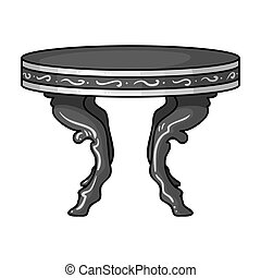 Baroque table icon in monochrome style isolated on white background. Furniture and home interior symbol stock vector illustration.