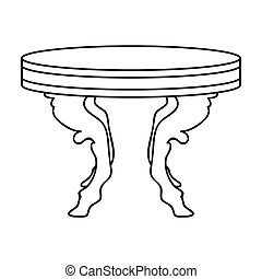Baroque table icon in outline style isolated on white background. Furniture and home interior symbol stock vector illustration.