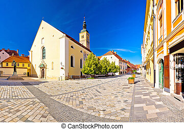 Baroque town of Varazdin square panoramic view, northern...
