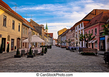 Baroque town of Varazdin street view, northern Croatia