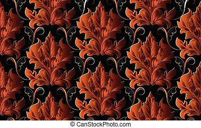 Baroque vector seamless pattern. Luxury antique floral backgroun