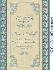 Baroque wedding invitation, beige and blue