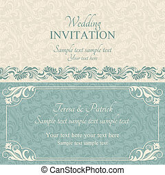 Baroque wedding invitation, blue and beige