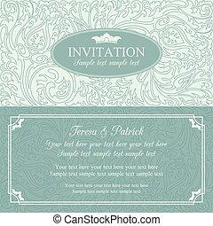 Baroque wedding invitation, blue