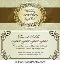 Baroque wedding invitation, brown and beige - Antique...
