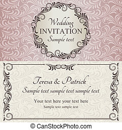 Baroque wedding invitation, brown, pink and beige