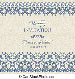 Baroque wedding invitation, dark blue
