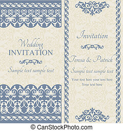 Antique baroque wedding invitation, dark blue on beige background
