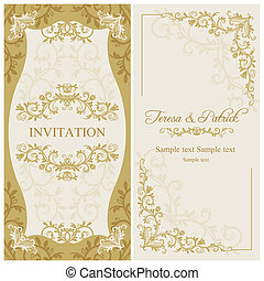 Baroque wedding invitation, gold and beige