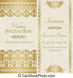 Baroque wedding invitation, gold - Antique baroque wedding ...