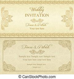 Baroque wedding invitation, gold
