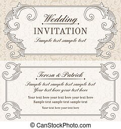 Baroque wedding invitation, grey and beige