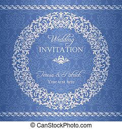 Baroque wedding invitation, navy blue