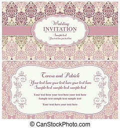 Baroque wedding invitation, pink and beige - Antique baroque...