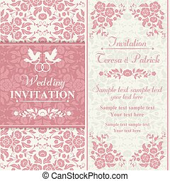 Antique baroque wedding invitation, couple of birds with ring, pink and beige